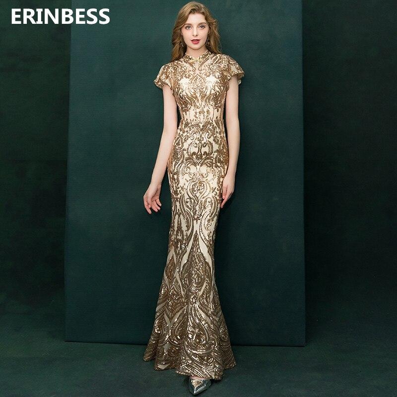 Sexy Gold Sequined Mermaid   Evening     Dresses   Long   Dress   High Neck Short Sleeve   Evening     Dress   Elegant 2019 Formal   Evening   Gowns