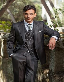 New Design Groom Tuxedo Dark Grey Groomsmen Peak Lapel One Button Wedding/dinner Suits Best Man Bridegroom (jacket+pants+vest)