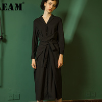 [EAM] Высокое качество 2018 осень зима черный с регулируемой талией Однобортный длинное пальто новые модные Для женщин LC156