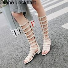 c87aa16ca8d Gladiador romano venda sandalias mujeres hasta la rodilla plana sandalias  2019 botas femeninas zapatos de mujer
