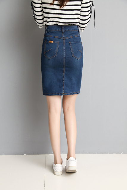 2019 Summer New High Waisted Denim Skirt Women Skirt Fashion Denim Skirt A Thin Elastic Slim Slim Package Hip Skirt 880E 30