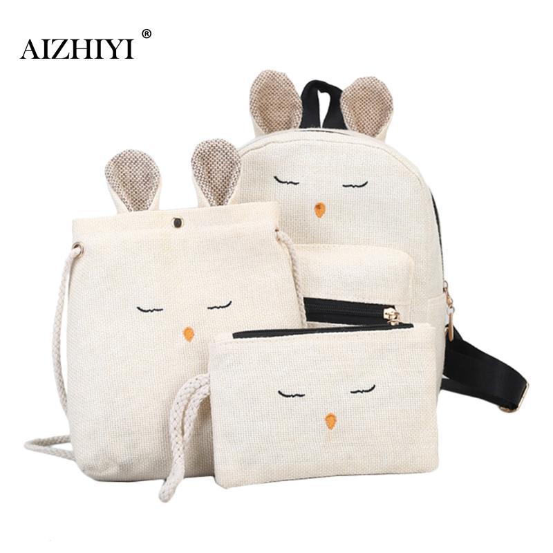 3pcs/Set  Linen Rabbit Backpack With Lovely Ear Kawaii Bookbag Soft Backpacks For Teenage Girls Schoolbag Crossbody Bag Clutch