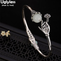 Uglyless Real Natural Jade Flower Bangles for Women Silver Buddha Hand Lotus Open Bangle Solid 925 Silver Bracelets Fine Jewelry