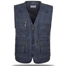 Plus size Mens Vests Men Cotton Multi Pocket Sleeveless Jacket Gilet Male Waistcoat masculina jaquetas size: XL-5XL