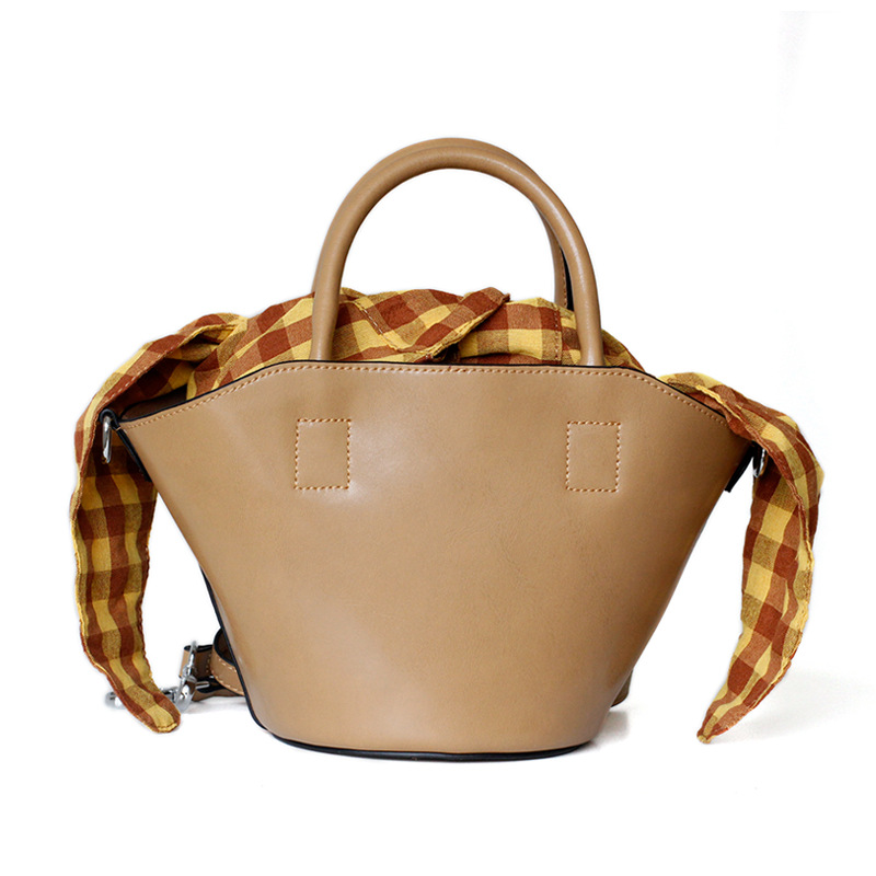Women Vintage Style Cowhide Leather Shoulder Basket Tote Plaid Inner Bag Shoulder Bag Top Handle Purse Fashion Handbag open shoulder plaid top