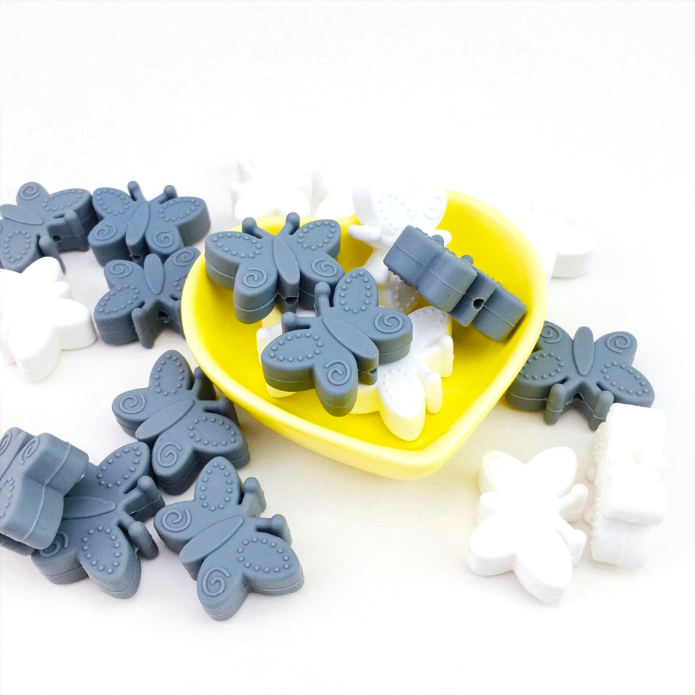 10pc Silicone Beads Mini Silicone Butterfly Teething Beads BPA Free For Teething Beads Jewelry DIY Making Rodent Pendant Toys