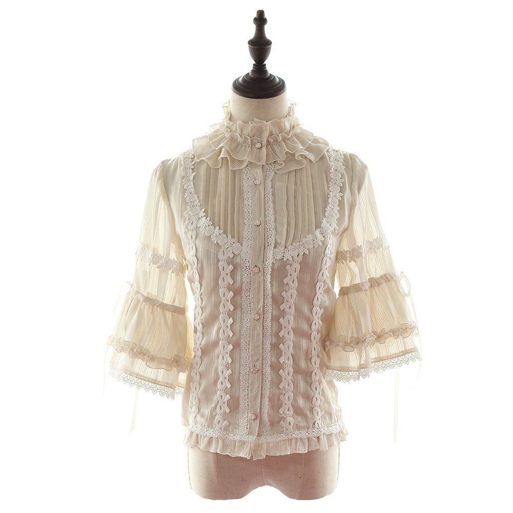 Victorian Sweet Lolita Blouse+Bow Belt+Sleeve Ivory XL