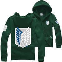Japanese Anime Attack on Titan hoodie Shingeki no Kyojin Legion Cosplay Costume Coat College Hip hop Hoodie Men Sweatshirt