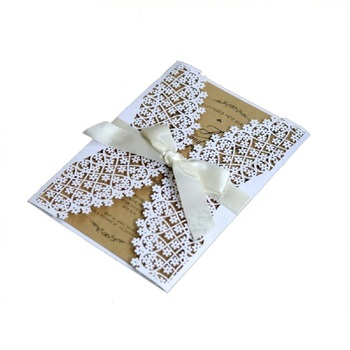 50pcs White Laser Cut  Engagement Wedding Invitations Card Lace Hollow Birthday Greeting Cards  Invites with Envelope