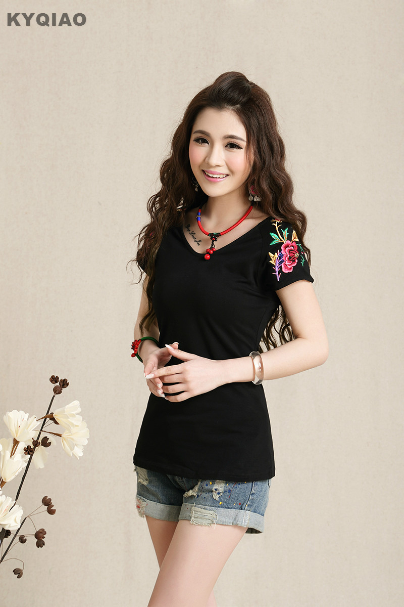 Ethnic Clothing Store KYQIAO 2017 Plus size M L XL 2XL 3XL size white black red embroidery t-shirt girls casual ethnic embroidery shirt boho tee blusa