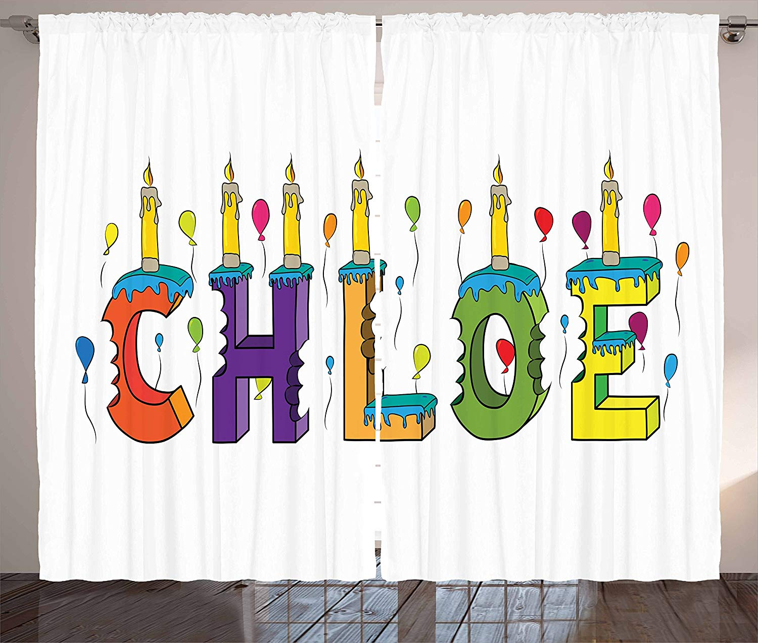 Chloe Curtains Lettering With Cheerful Bitten Cake Candles Girly Birthday Party Design First Name Living Room Bedroom Window