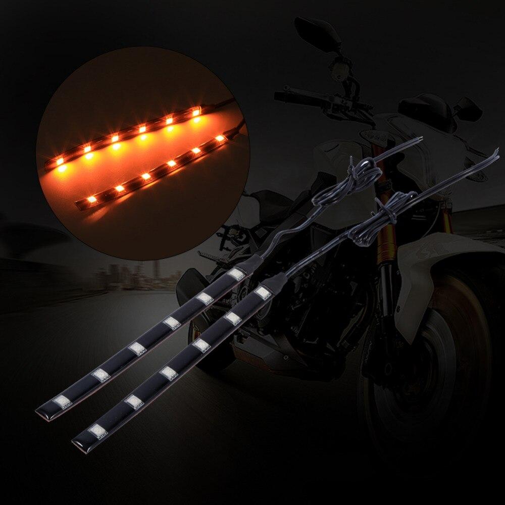 Us 3 07 8 Off 2pcs 6led Led Strip Motorcycle Led Turn Signal Light Strips 5050 Smd Turn Signal Indicator Blinker Light Amber Car Styling On