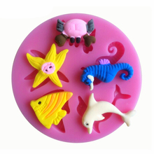 Cute Sea Animal Series Silicone 3D Mold Cookware Dining Bar Non-Stick Cake Decorating Fondant Soap Mold for Kids Birthday Gift