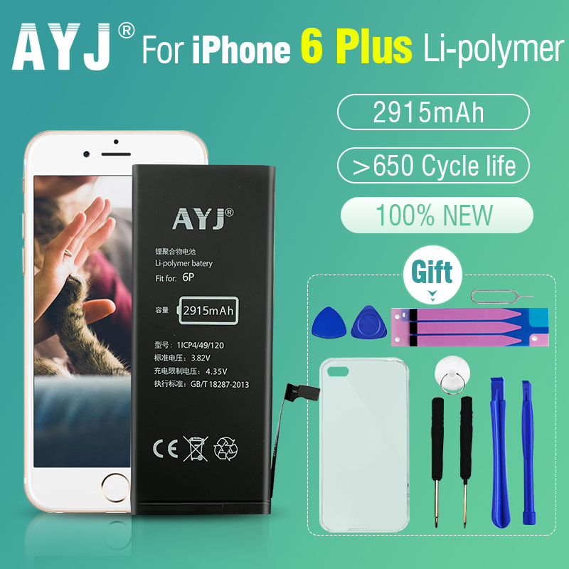 AYJ AAAAA 100% New Battery for iPhone 6 Plus 6plus 5.5 Replacement Full Capacity 2915 mAh Free Tools Kit Battery Tape