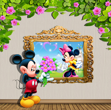 3D Mikey Mouse For Wedding Love Photography Background Muslin Computer Spray Painted Digital Cloth Vinyl Backdrops Backgrounds 2015 new 2mx3m warning sign on the beach digital backdrops muslin vinyl photography background