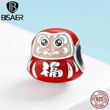 BISAER Enamel Beads 925 Sterling Silver Japanese Gifts Daruma Dolls Charm for Women Charms Bracelet Memory Souvenir Gift GXC1087(China)