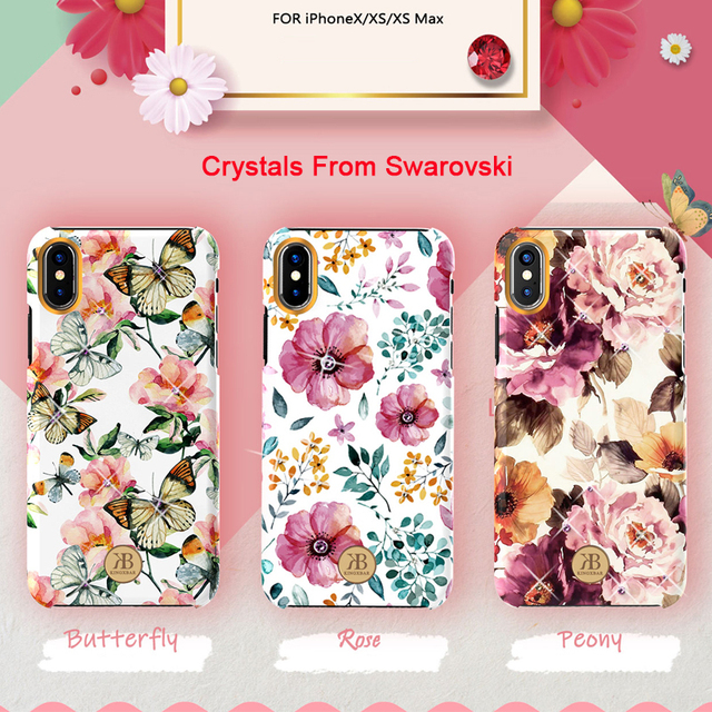 Original Kingxbar Crystals Rhinestone Flower Case For Apple iPhone XS XS MAX X Fashion Built in Metal Plate Hard Back Cover Case