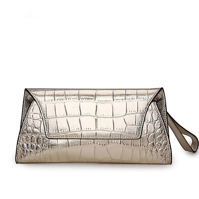 2017 New Plain Alligator Cowhide Pillow Women Messenger Bags Clutch Chain Shoulder Handbag Evening Bag Phone Pocket Purse wallet