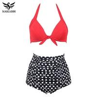 NAKIAEOI Bikini 2016 High Waist Swimsuit Push Up Swimwear Swimming Suit For Women Swimwear Bikini Set