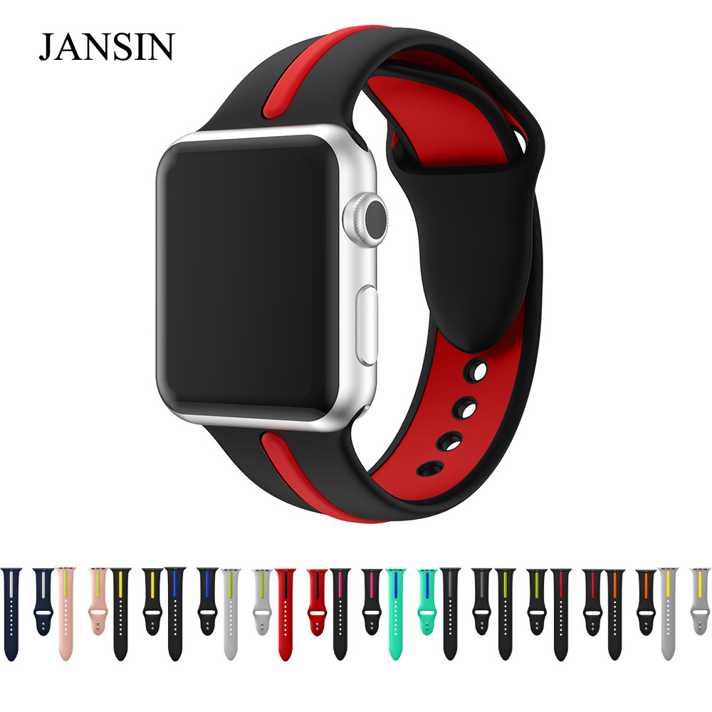 JANSIN sport silicone strap for apple watch band 4 40mm 44mm 42mm 38mm bracelet wrist band for iwatch series 4 3 2 1 20 colors sport band for apple watch band 44mm 40mm 38mm 42mm replacement watch strap for iwatch bands series 4 3 2 1