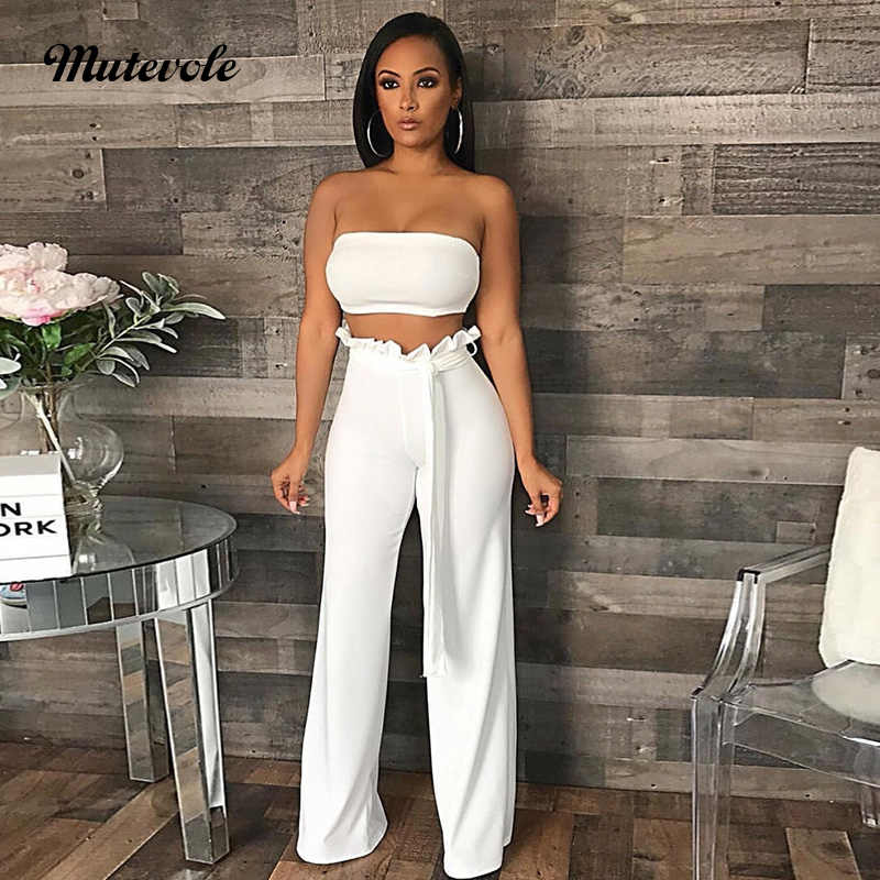 4e97360feeb02 Mutevole Women Sexy Two Piece Pants Set Strapless Crop Top and Pants 2  Piece Set Solid