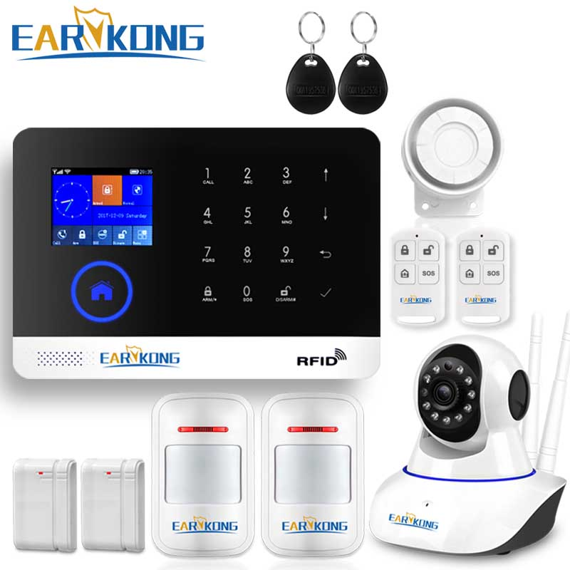 WIFI GSM Alarm System GPRS RFID TFT Screen Touch Keyboard English Russian Spanish German Polish Italian French Android IOS APP