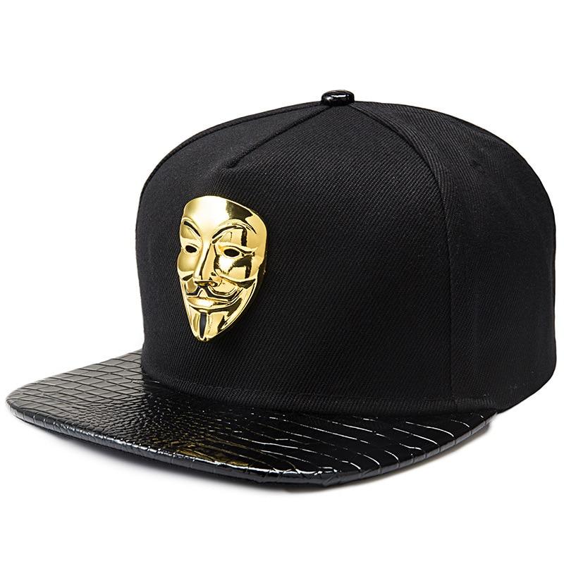 Prix pour Hip hop snapback casquettes v pour vendetta casquettes de baseball noir chapeaux Bord Plat Rue Bboy Rappeur Danseur MC DJ Skate Gorras