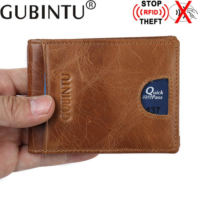 f88c1abfe6517 Prawdziwej Skóry Mężczyzna Skórzany Portfel RFID Anti Theft Małe Portfele  męskie z Metalowymi spinkami Portfolio Człowiek