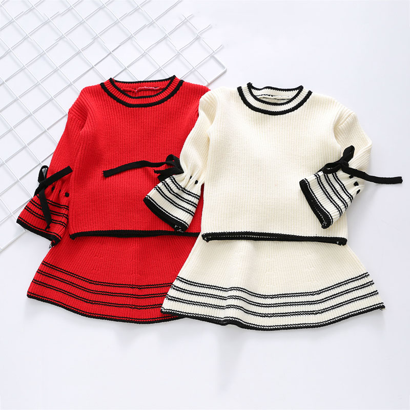 Fall Winter New Girl Fashion Two Sets Cute Bow Knit Sweater Shirt Flare Sleeve Skirt Children's Suit new fashion suspender with sleeveless shirt suit for girl