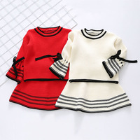Fall Winter New Girl Fashion Two Sets Cute Bow Knit Sweater Shirt Flare Sleeve Skirt Children's Suit