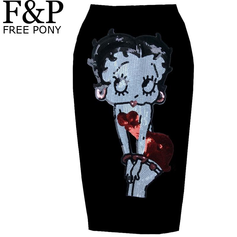 fb4ff1b1c Punk Rock gótico parche ropa verano bordado parche Betty Boop lápiz falda  Vintage negro verano mujeres alta cintura faldas