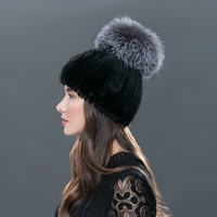 LTGFUR 2018 Real Sliver Fox Fur Hat Female Natural Mink Fur Winter Hats For Women Rose Rhinestones Patchwork Mix Color Beanies