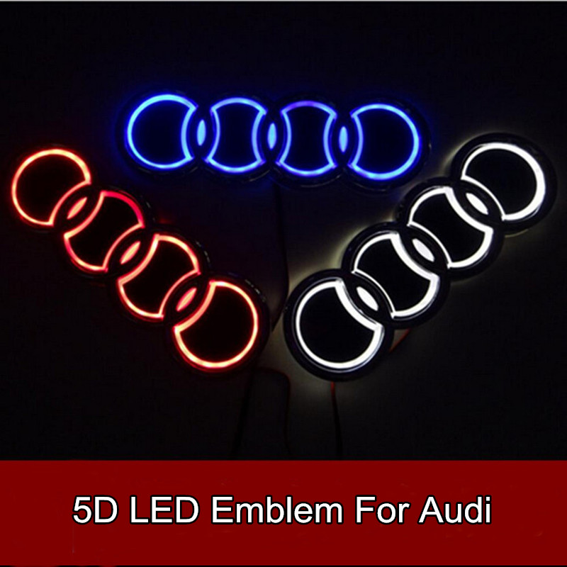 Car Styling 5D Led Rear Emblem Logo Light Car Badge Bulb for Audi Q3 Q5 A1 A3 TT 1pcs 4d led rear emblem car logo light for ford focus mondeo car led badge bulb car styling