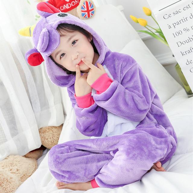 Unicorn Onesie Kids Purple Pajama Overalls Animal Cosplay Cartoon Sleepwear Girls Festival Holidays Party Suit Flannel