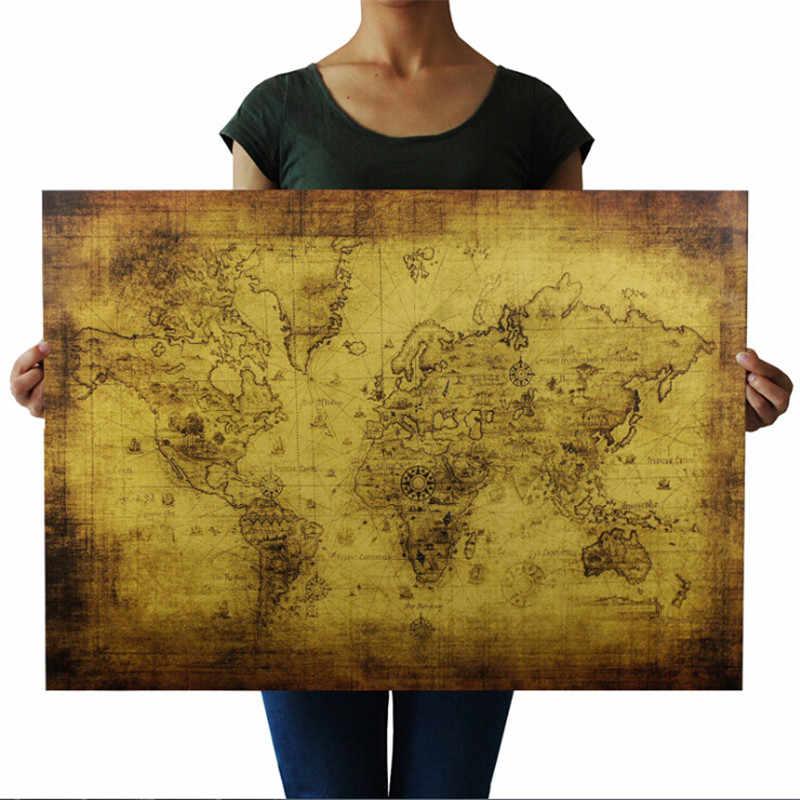 航海オーシャンシーワールド地図レトロ古いアート紙絵家の装飾ステッカーリビングルームカフェアンティークポスター 71*51 センチメートル