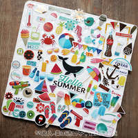 99 pcs Bronzing kleur kawaii Zee Strand Serie in Zomer Decoratie Sticker DIY Scrapbooking Label Dagboek Album Sticker Escolar