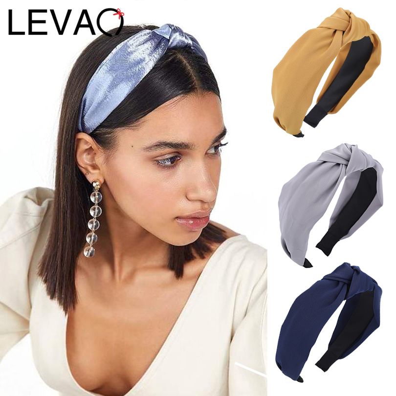 LEVAO Solid Colir Stain Headband For Women Girls Casual Shiny Top Cross Knot Hair Bands Hoop Bezel Hairbands Hair Accessories