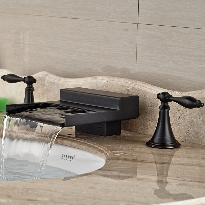 Oil Rubbed Bronze Width Waterfall Spout Widespread Bathroom Sink Basin Faucet Dual Handles Basin Mixer Tap