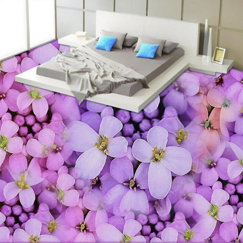 Free Shipping custom 3D Stereo Purple warm aesthetic floor decoration mural living room bedroom Self-adhesive wallpaper free shipping 3d african elephant outdoor cartoon floor home decoration self adhesive mural baby room bedroom mural wallpaper
