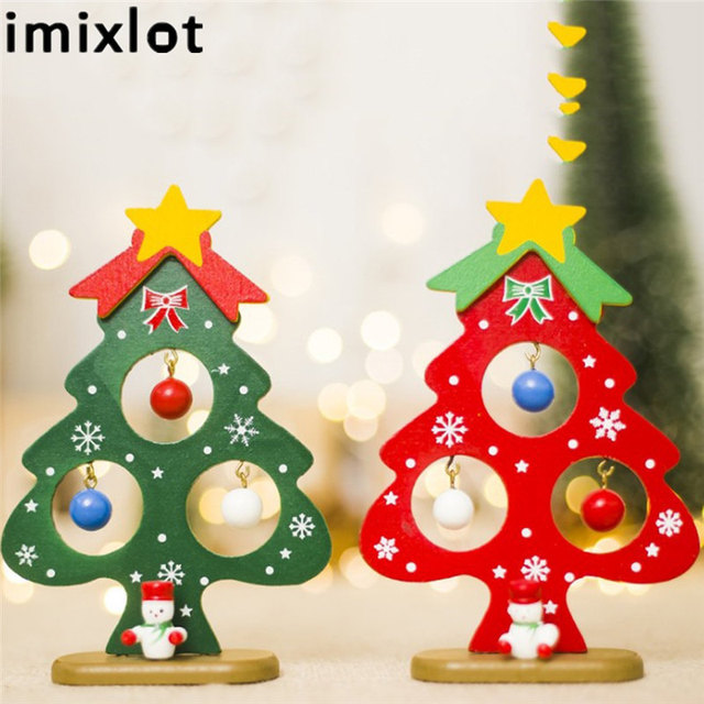 Us 2 27 25 Off Imixlot Min Christmas Tree Table Cartoon Wooden Christmas Tree Ornaments Creative Table Decoration Christmas Gift In Trees From Home