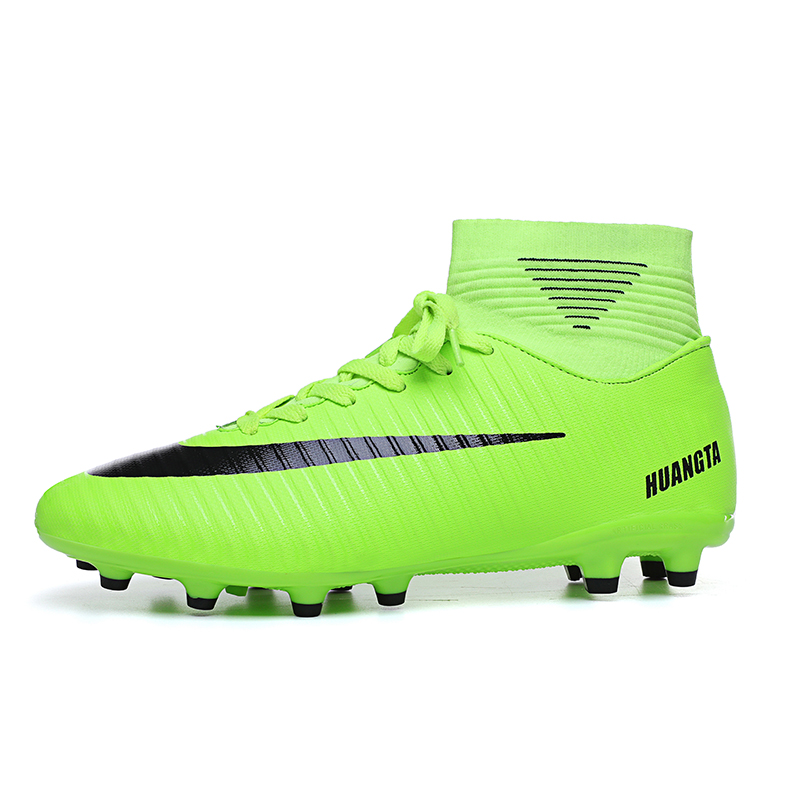 Men Kids Football Boots With Ankle Long Spikes High Top Soccer Shoes For Man Children Sport Cleats Football Sneakers Tf Boots(China)