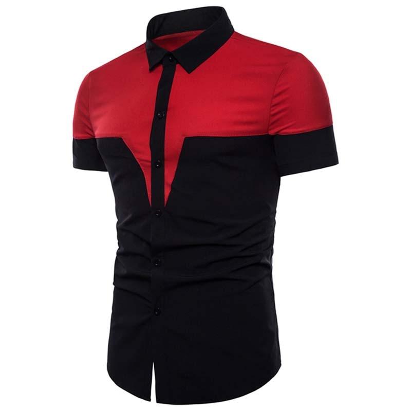 New Men's Shirts Stitching Color Autumn Fashion Patchwork Shirt Turn-down Collar Short Sleeve Male Shirt Tees Black Navy