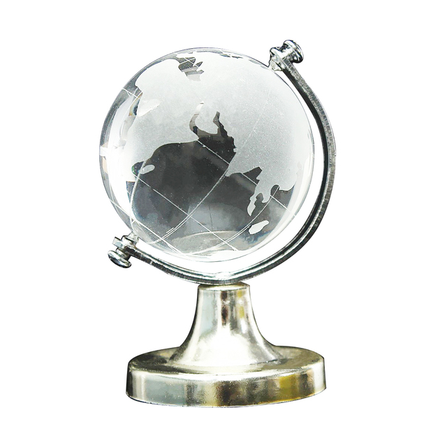 HOT SALE Crystal Glass Frosted World Globe Stand Paperweight Home Desk Wedding Decorate 1