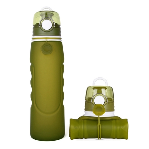 750ml Telescopic silicone bottle outdoor sports water bottle button lid 0.75L folding silica drinking collapsible bottle Multan