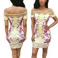 Nueva llegada de 2016 mujeres del otoño dress moda imprimir vestidos más el tamaño atractivo de la envoltura vestidos de fiesta elegante vestido de festa