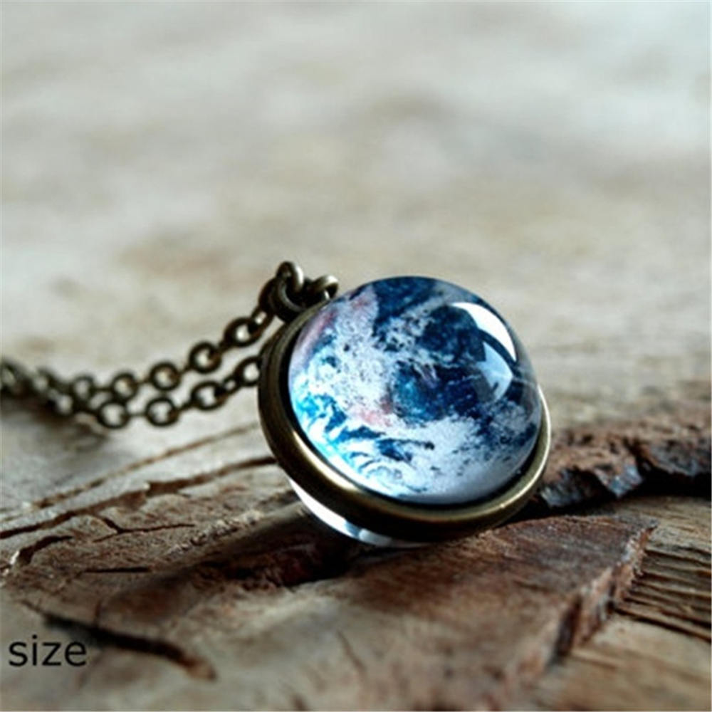 Women Luminous Necklace Moon Necklace Galaxy Planet Glass Cabochon Pendant Necklace Silver Chain Luminous Jewelry Gifts in Pendant Necklaces from Jewelry Accessories