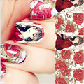 1 Sheet NICOLE DIARY Nail Art Water Transfer Sticker Beautiful Women Red Roses Design Manicure Nail Art Water Decals