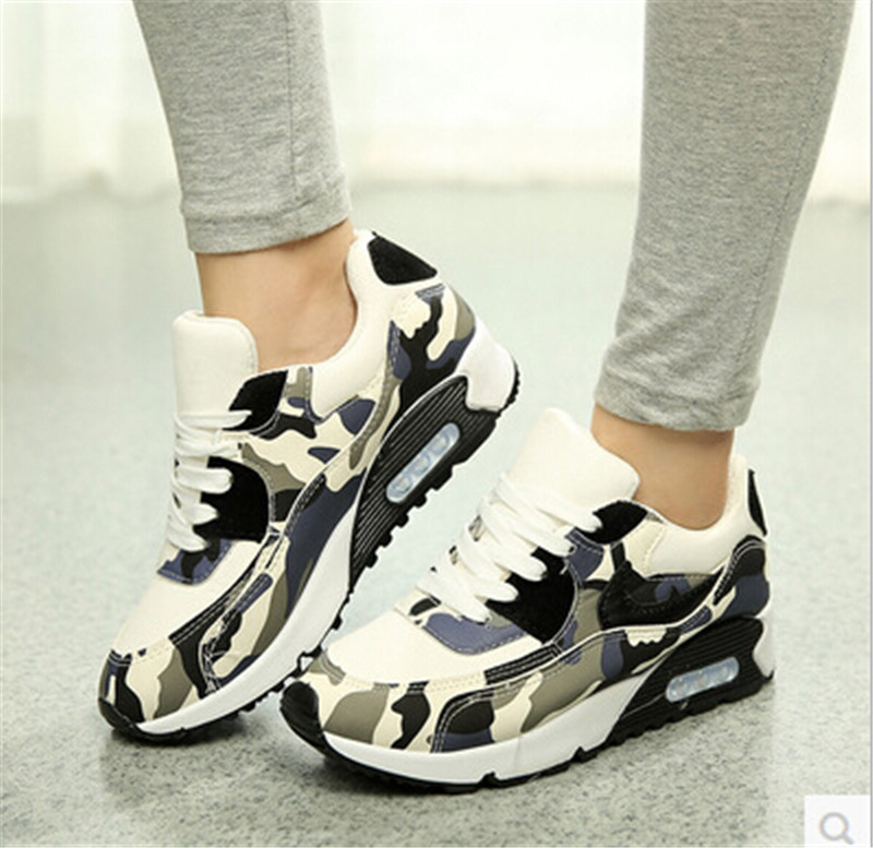 Breathable Camouflage Black Footwear Girl Casual Air Flat With Walking Canvas 2015 Slip Lace up Flats Women Platform Shoes 004 summer women shoes casual cutouts lace canvas shoes hollow floral breathable platform flat shoe sapato feminino lace sandals