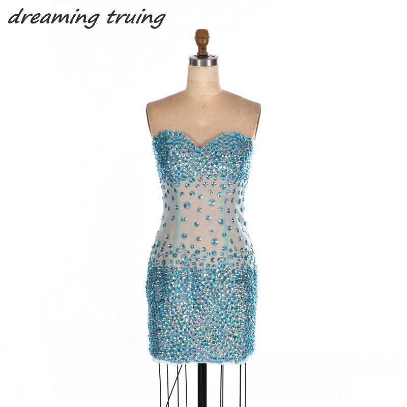 Sexy Short Backless Turquoise Cocktail Dresses With Bling Bling ...