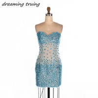 Sexy Short Backless Turquoise Cocktail Dresses With Bling Bling Sequined Tulle Prom Party Gowns 2018 Custom Made Cocktail Kleid